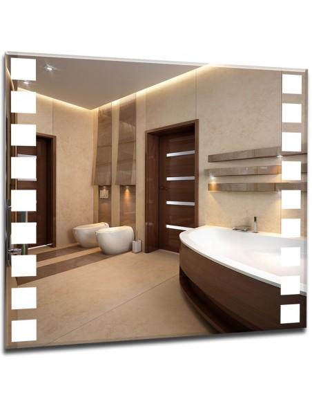 Nowoczesne lustro z podświetlanym wzorem - kwadraty