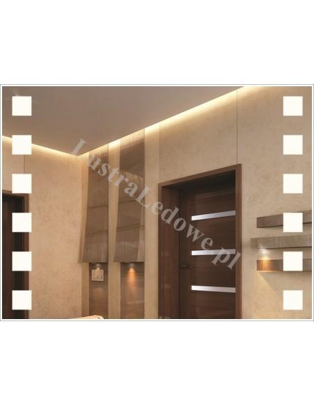 Nowoczesne lustra łazienkowe z podświetlanym wzorem - kwadraty