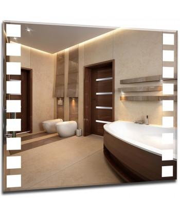 Nowoczesne lustra podświetlane z nowoczesnym wzorem - kwadraty
