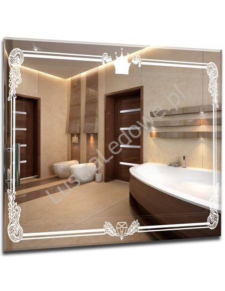Stylowe lustra PODŚWIETLANE łazienkowe z grawerem retro korona LED
