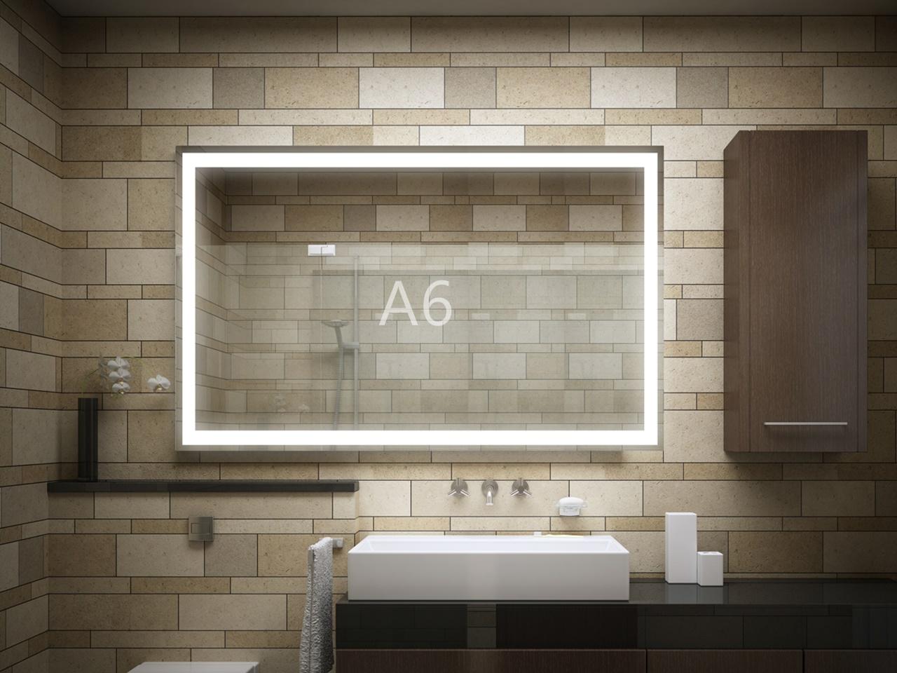 Projekty łazienek 2020 lustro podświetlane